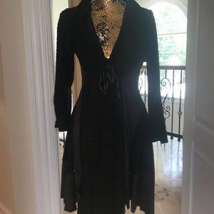 Chocolate colored layered hem winter knit dress